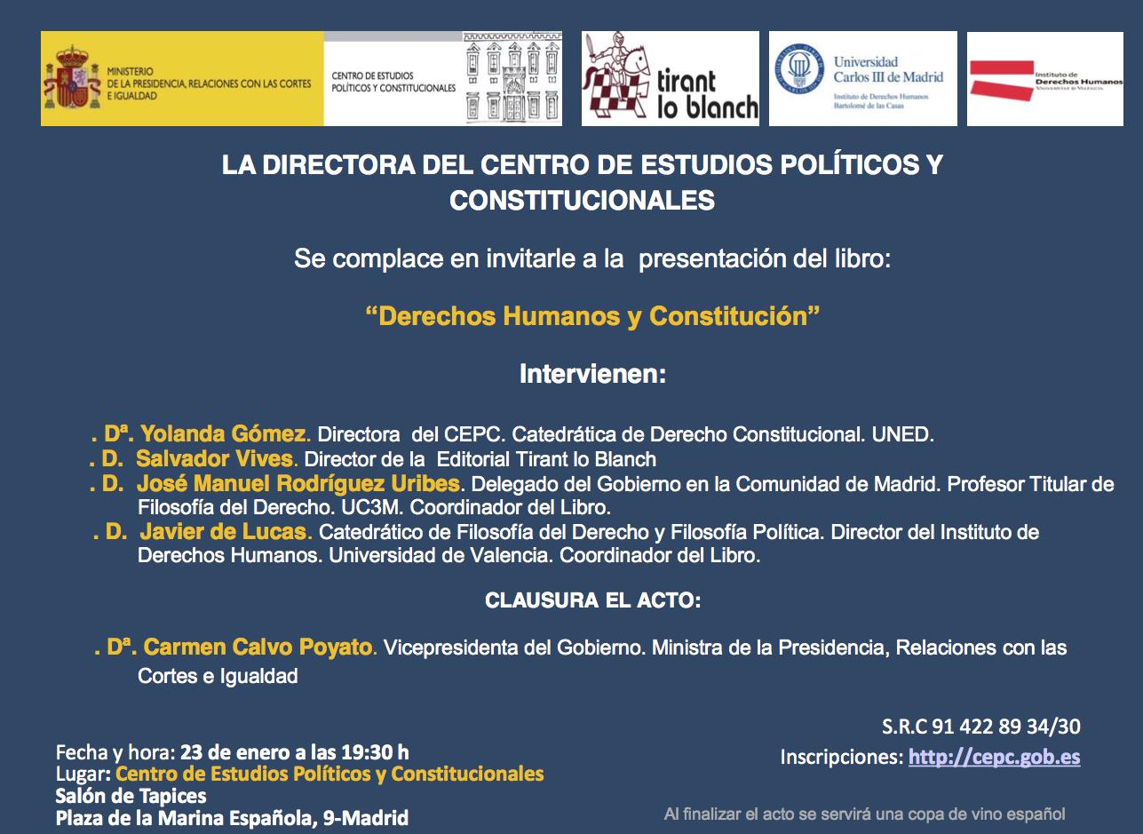 invitación presentación libro Derechos Humanos y Constitución